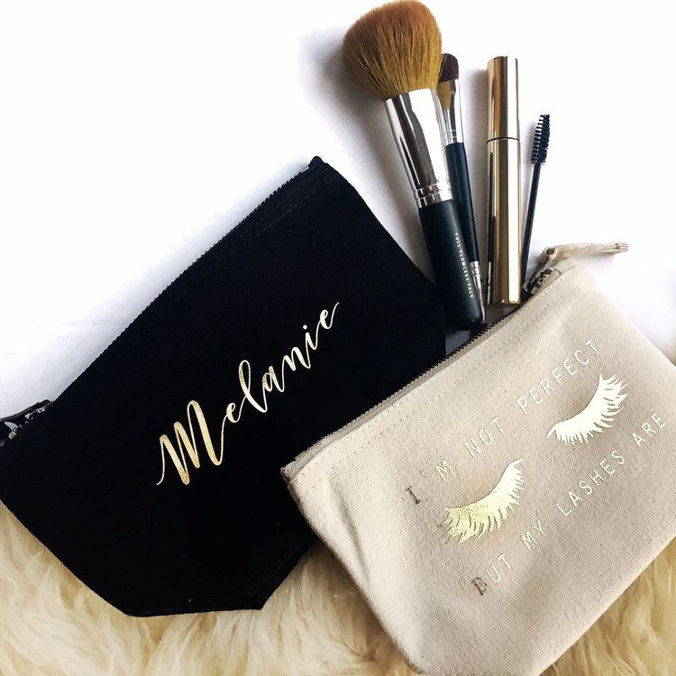 Black and Beige Personalised Makeup Bags
