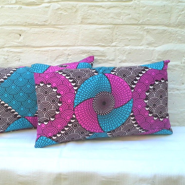 Pair of Pink and Blue Ankara Patterned Oblong Cushions