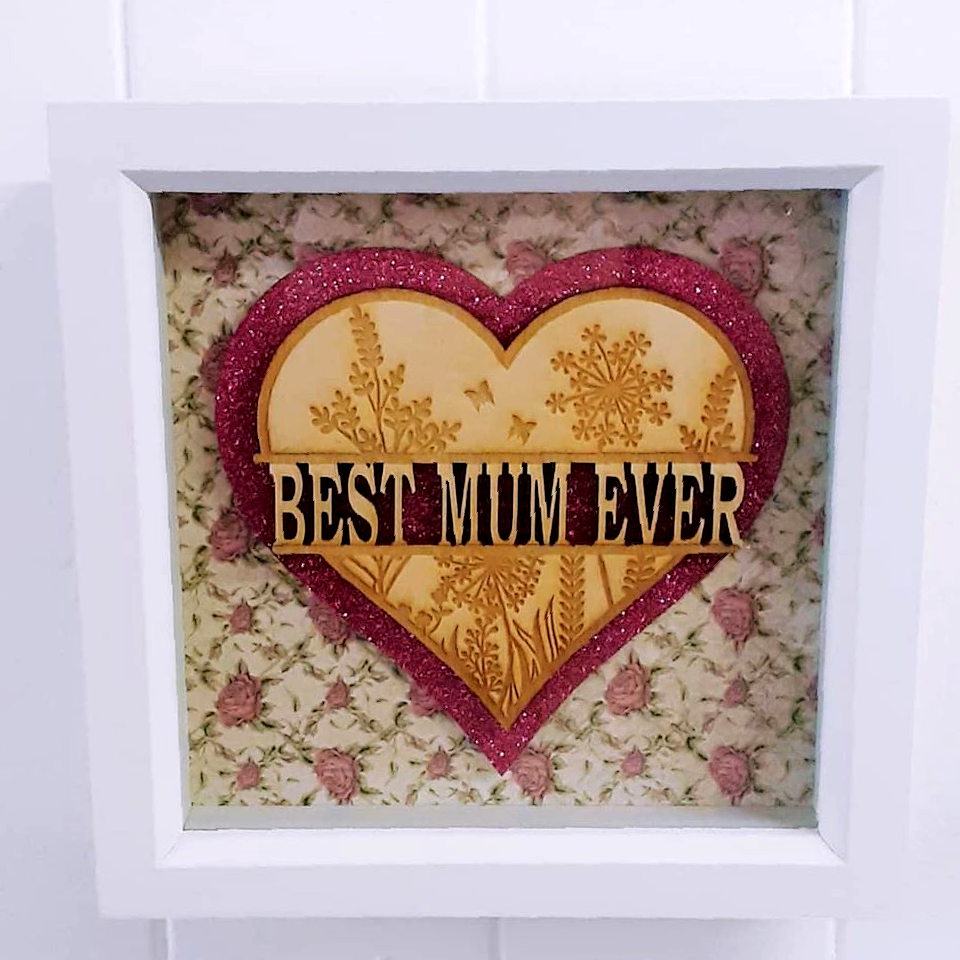 Laser Cut Wooden Heart with flower details