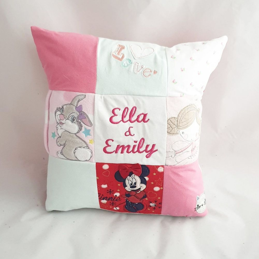 Patchwork cushion made from baby clothes