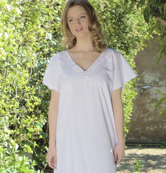 Woman wearing a cotton nightdress