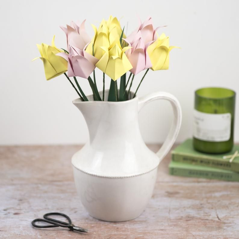 Pink and Yellow Origami Tulips in a Jug