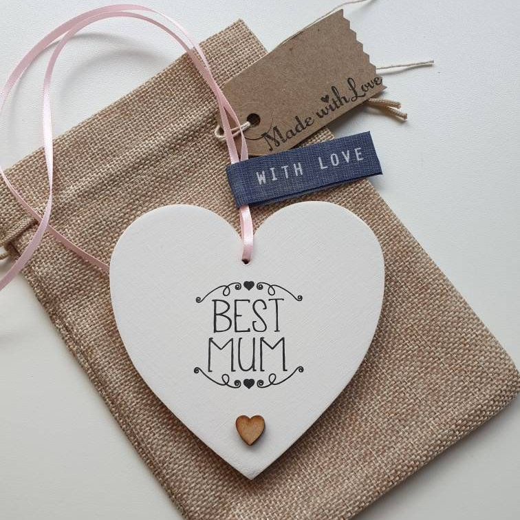 "Handstamped heart ornament that says ""Best Mum"""