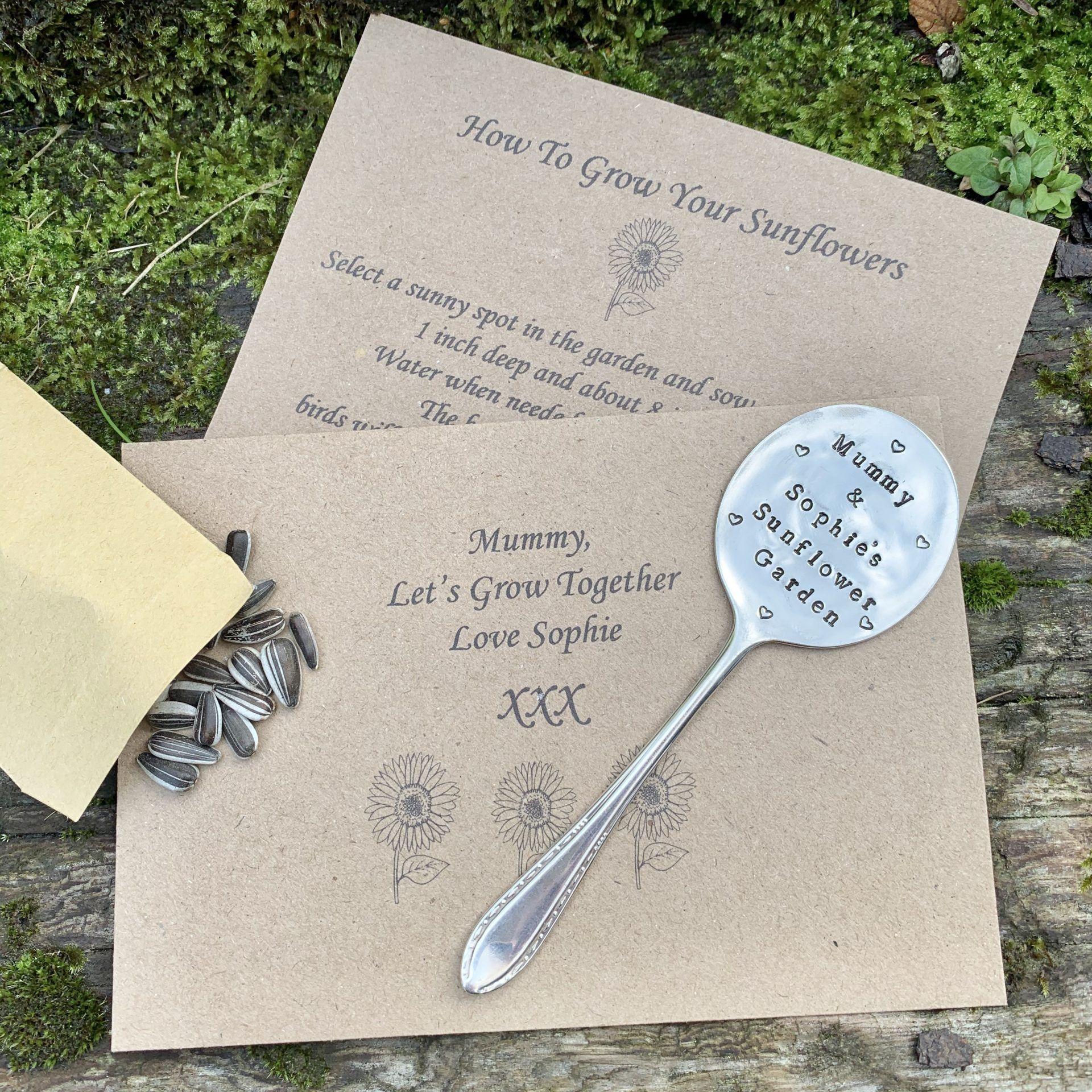Handstamped spoon on notelets to mum with sunflower seeds to the side