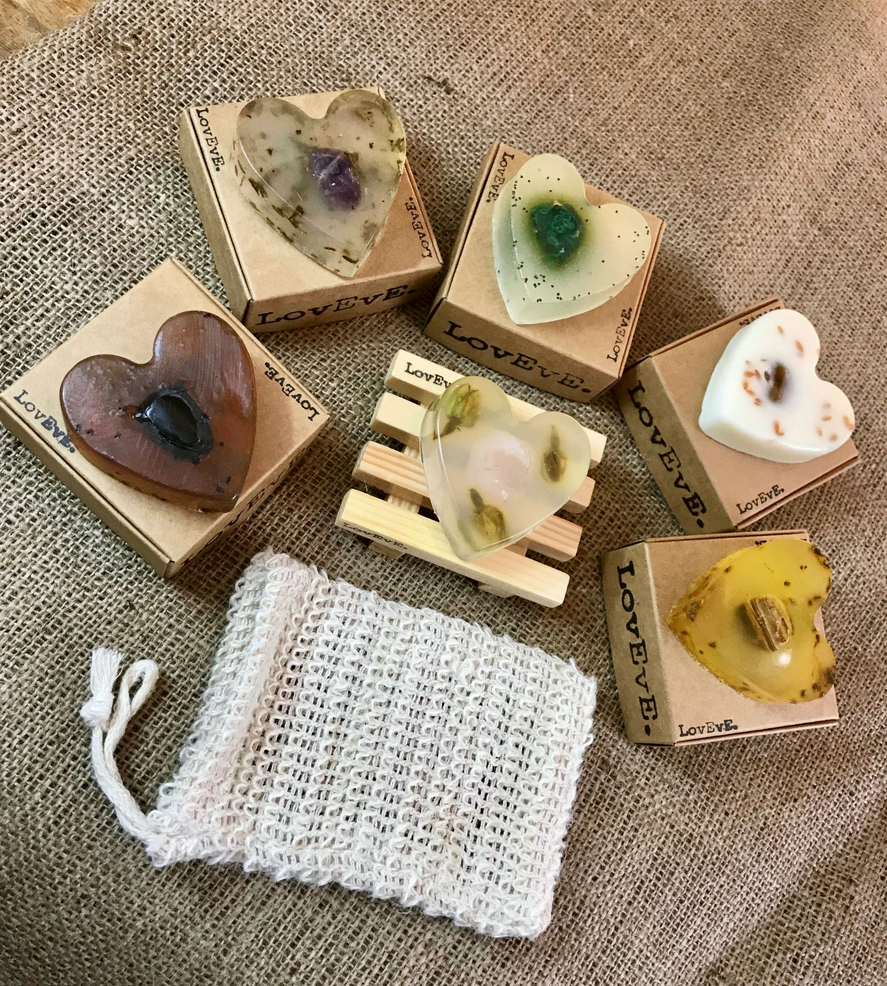 Selection of 6 heart shaped soaps