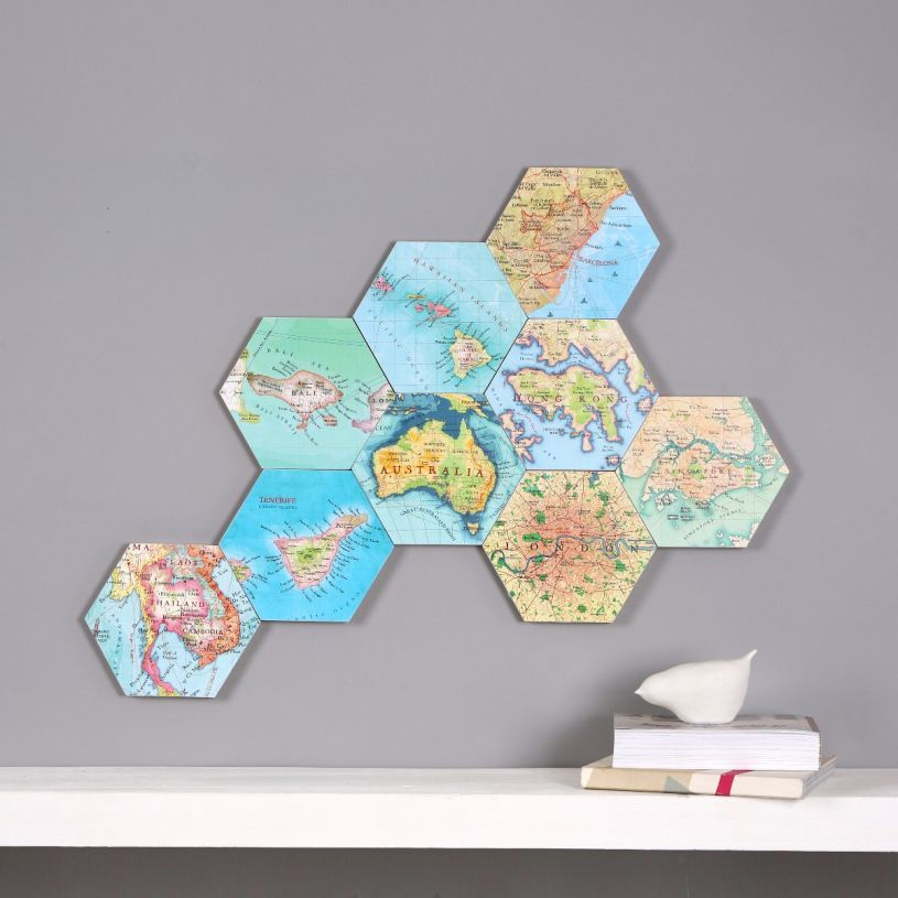 Hexagon Wall Art Depicting Different Locations