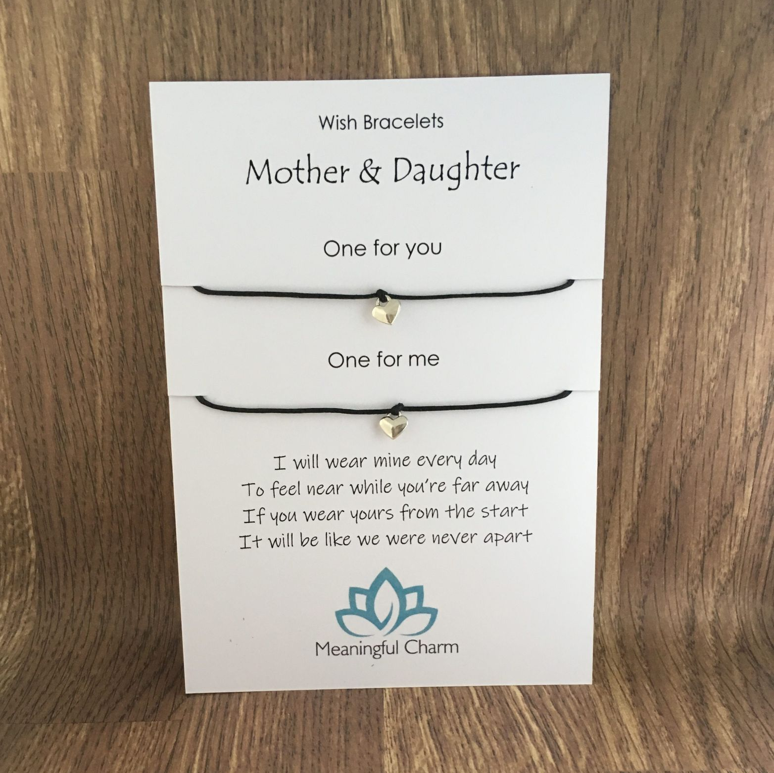 Mother and Daughter Wish Bracelets on a Card