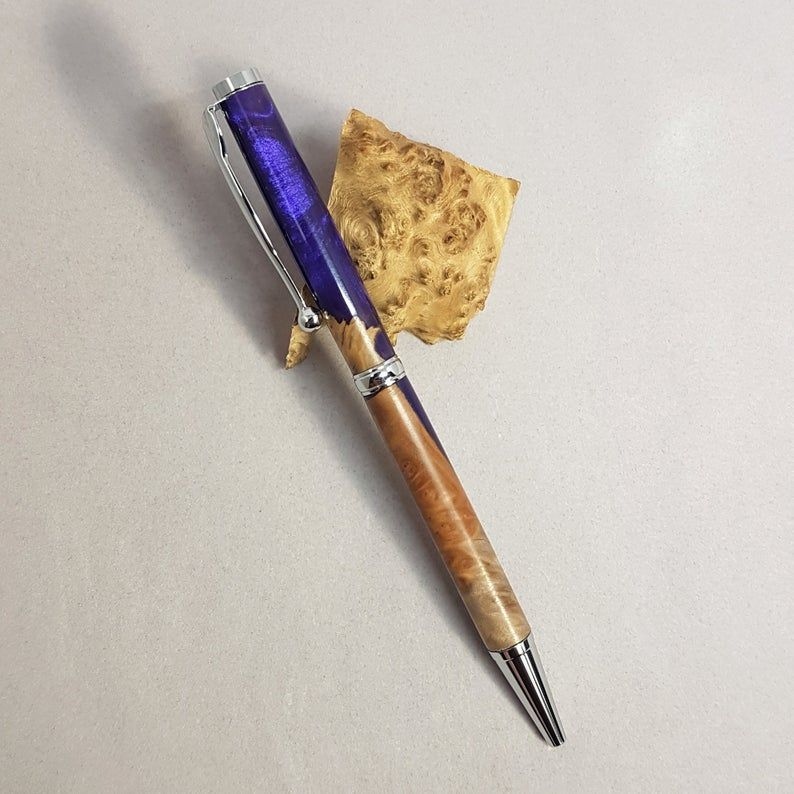 Wooden Pen with Purple Resin Decoration
