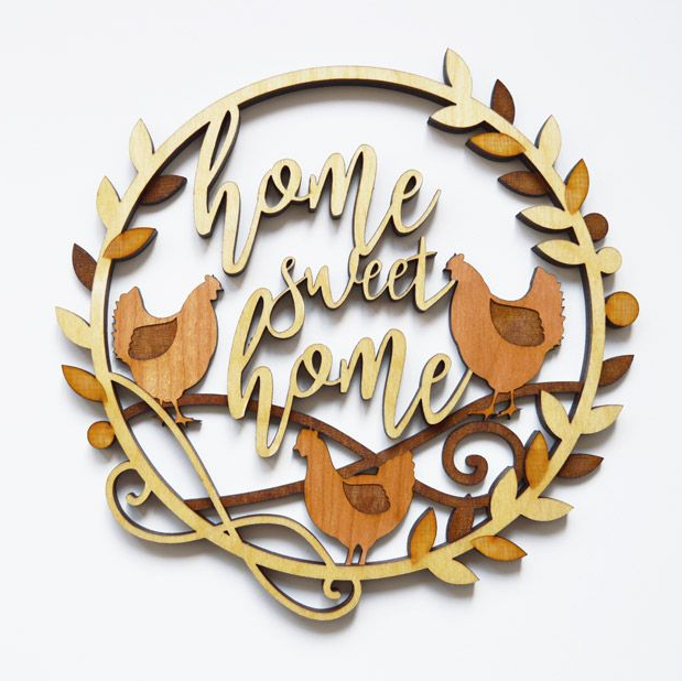 Home Sweet Home Wooden Wreath with Chickens