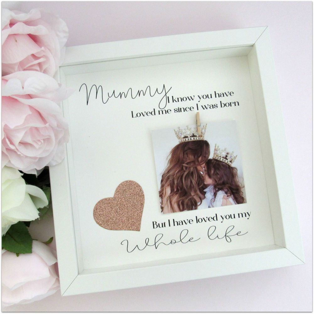 Photo frame featuring a glittery heart and a heartfelt message