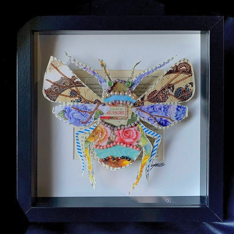 Bee made from mixed media and framed