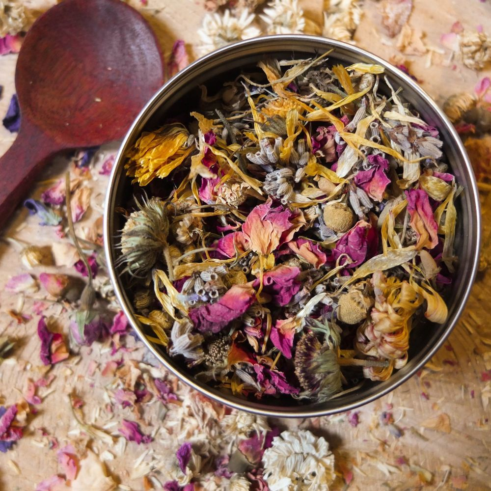 A bowl of floral facial steam mix