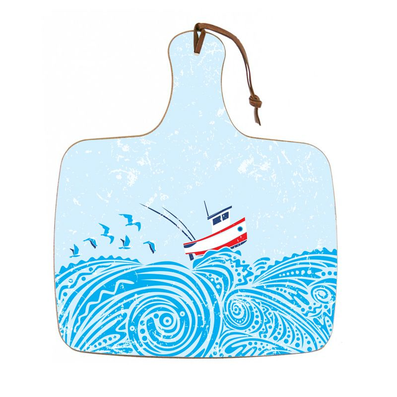 Chopping board featuring an image of a boat on the water