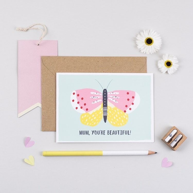 "Colourful Butterfly Card That Says ""Mum, You're Beautful!"""