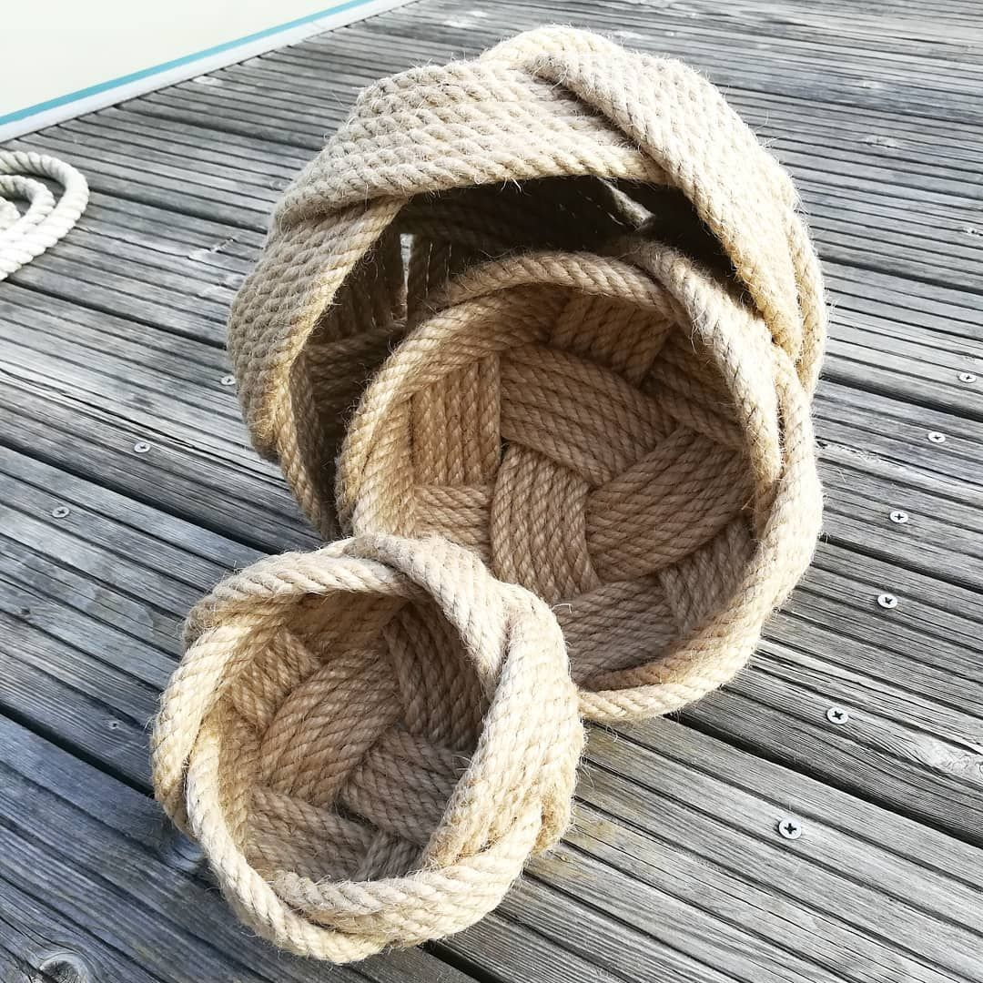 Three jute rope knot baskets in different sizes
