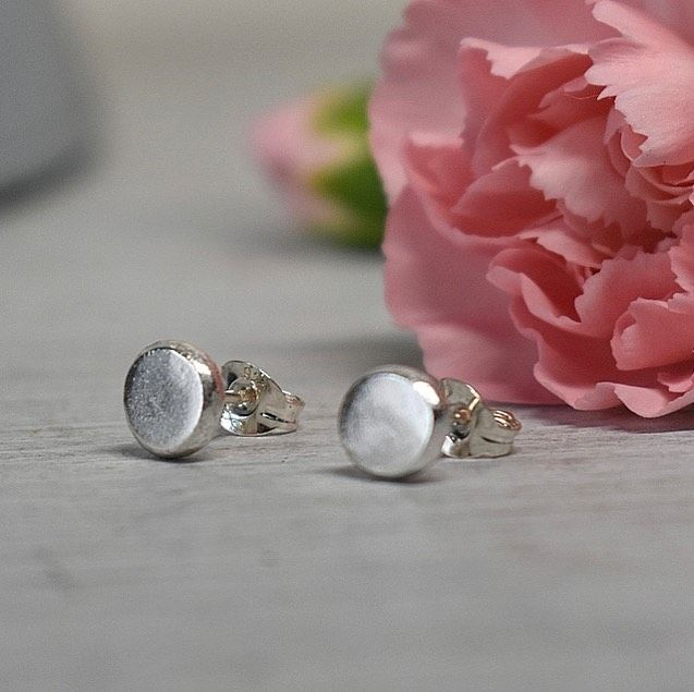 Recycled 6mm silver stud earrings