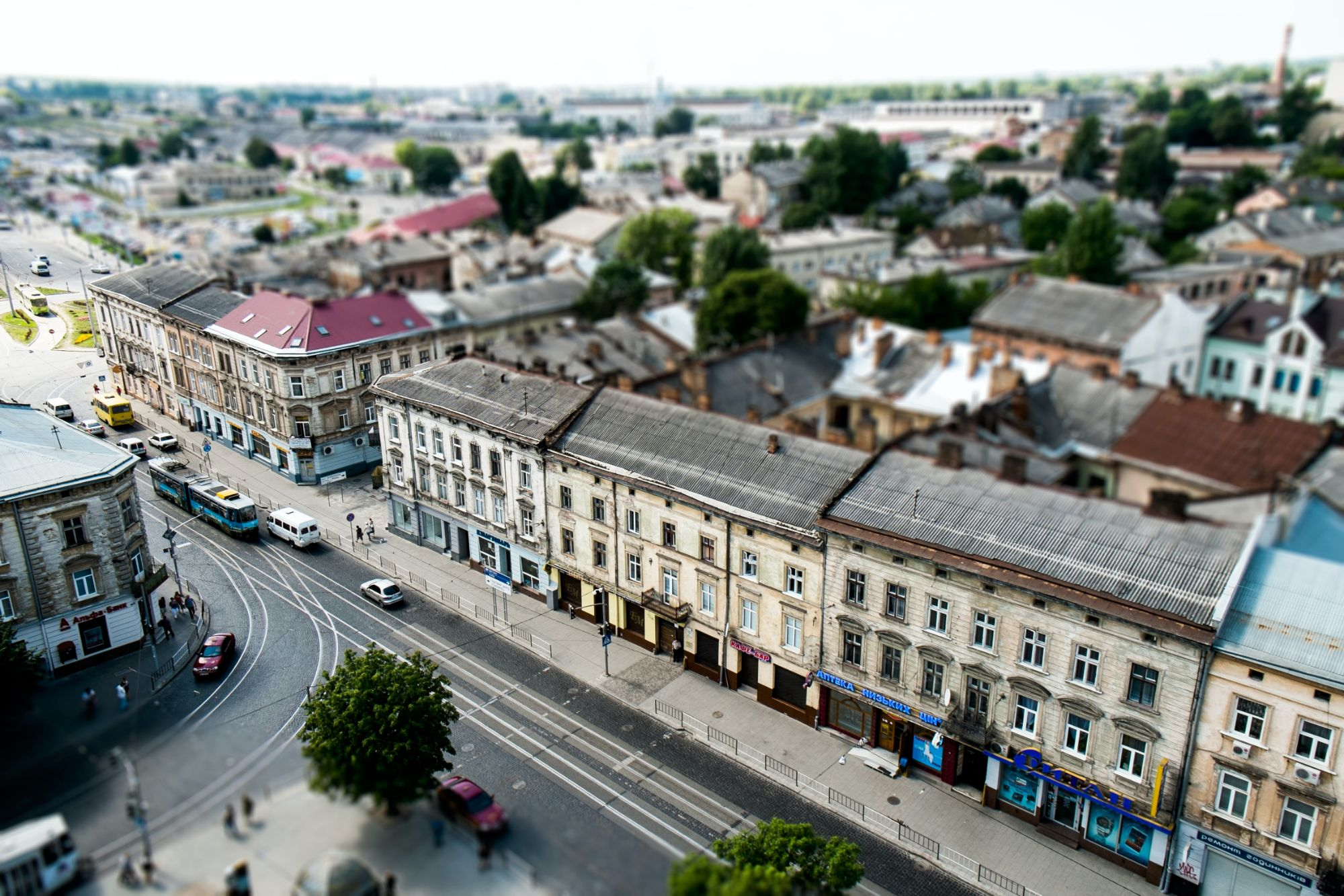 Aeriel view of a high street