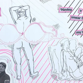 Drawing collage in balck and pink, shows woman with oversized bra