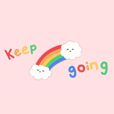 The words 'Keep Going' in rainbow lettering and a rainbow with two smiling clouds