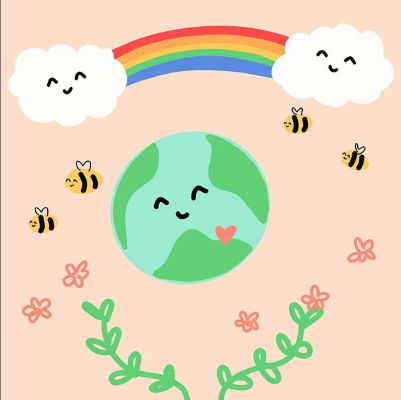 Planet Earth with a smiling face on blsuh pink background, above is a rainbow and smiling clouds, surrounded by bees and flowers
