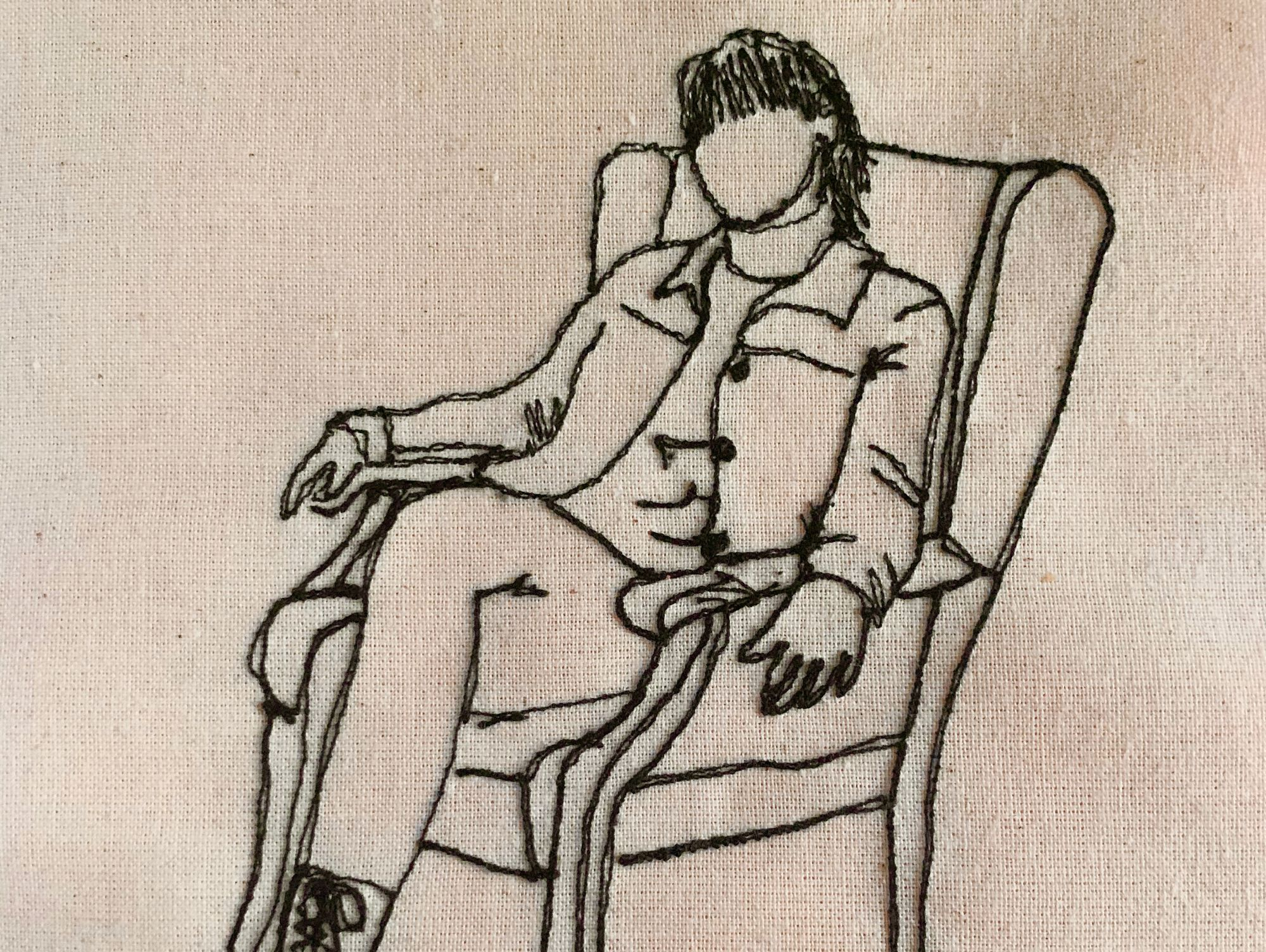 stitched image of a woman sitting on a chair