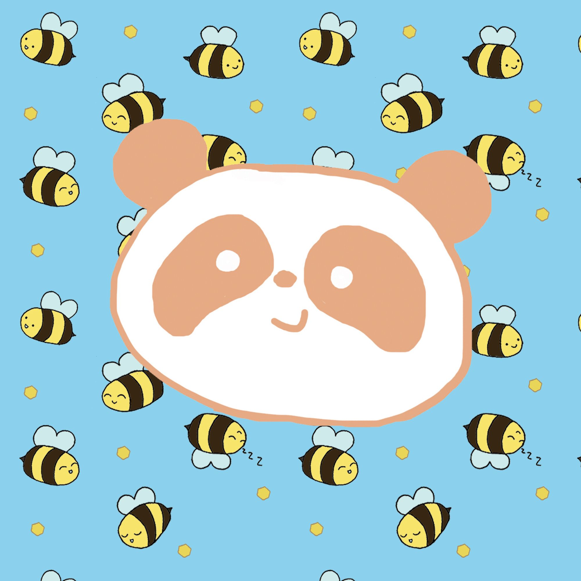 A peach panda head on a background of a repeat pattern of bees on a blue background