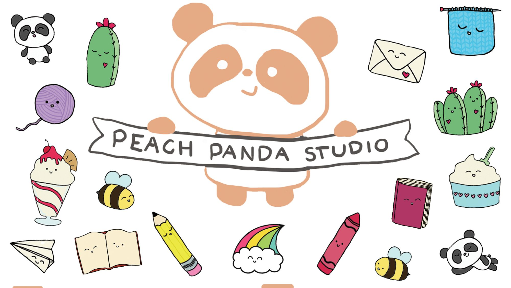 Peach Panda Studio logo surrounded by smiling cartoon inanimate objects