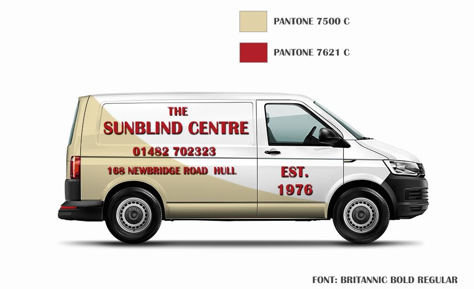 A van wrap design for The Sunblind Centre, by Rachel Anderson
