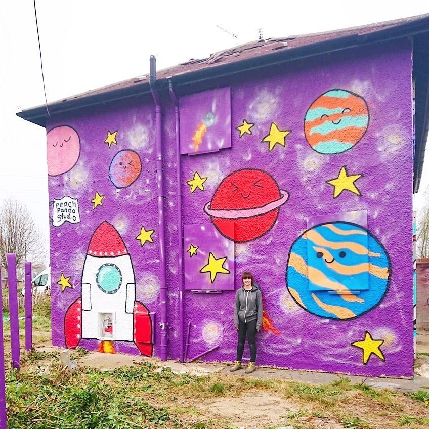 Painted gable end, decorated with space imagery