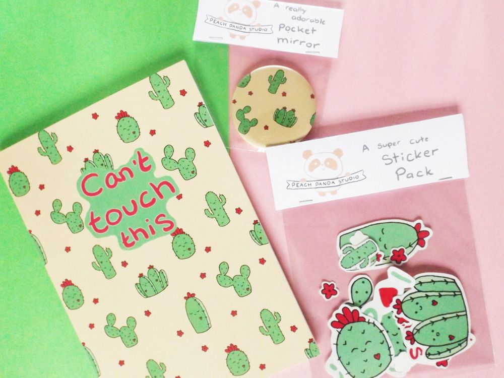 A collection of Cactus themed products by Peach Panda Studio