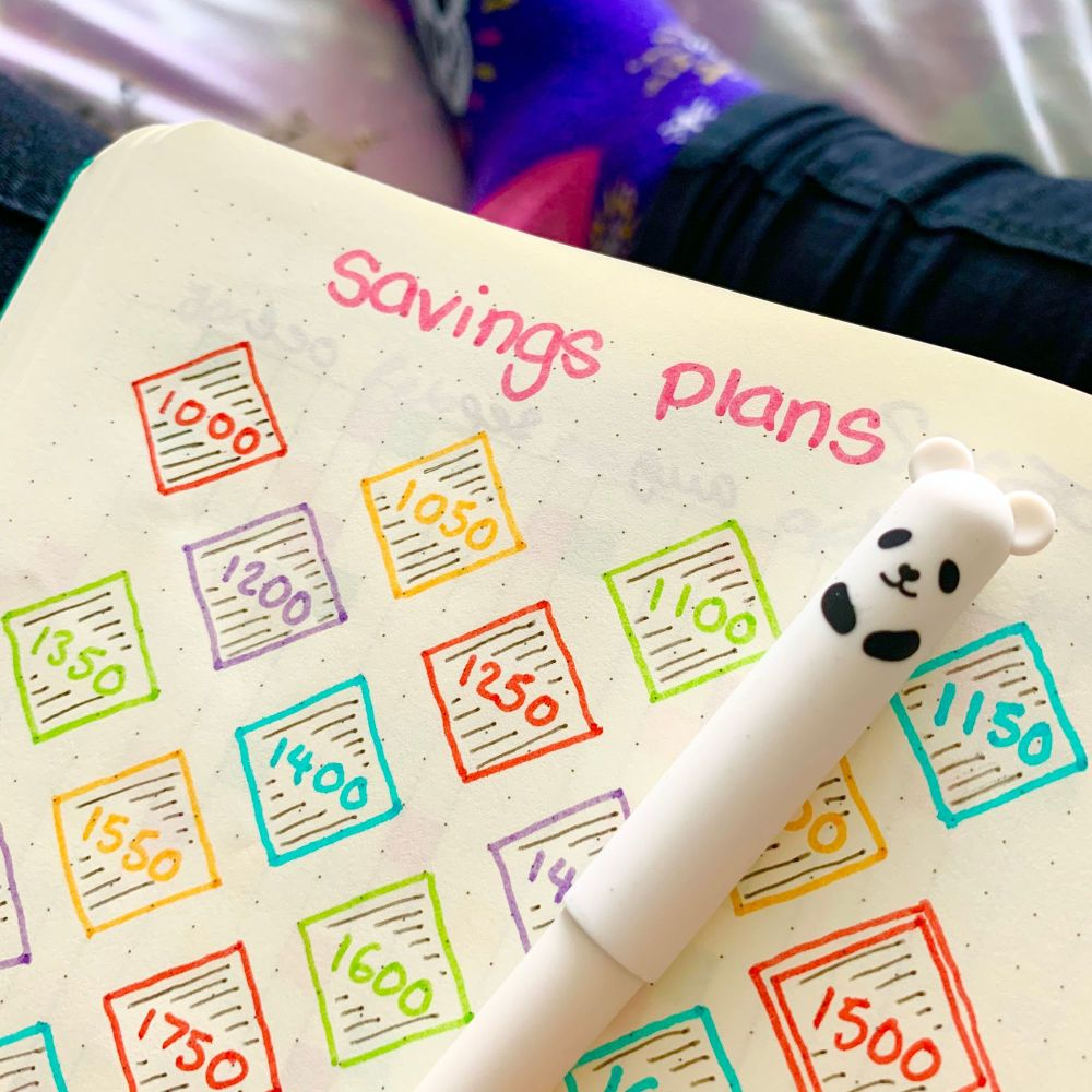 Savings plan habit tracker in bullet journal