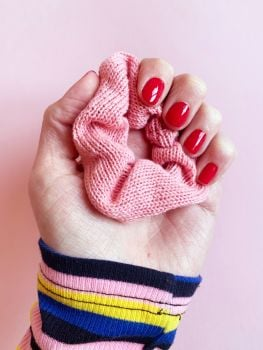 PINK WAFER - Knitted Hair Scrunchie