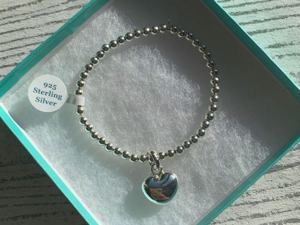 Sterling Silver Large Heart Beaded Stacking Bracelet - Handmade