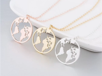 Rose Gold World Necklace