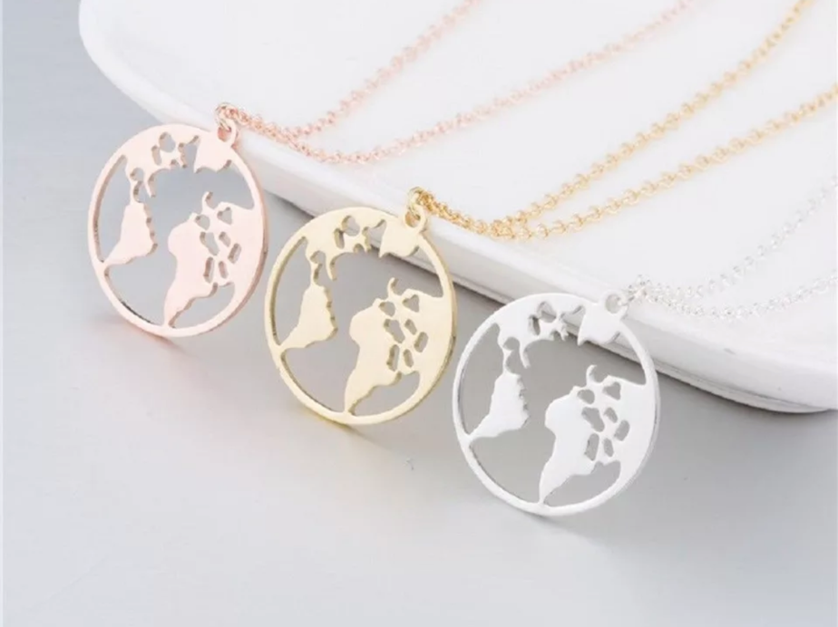 Silver World Necklace