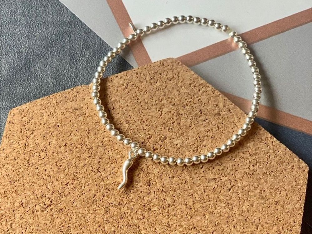 Sterling Silver Horn Beaded Stacking Bracelet - Handmade