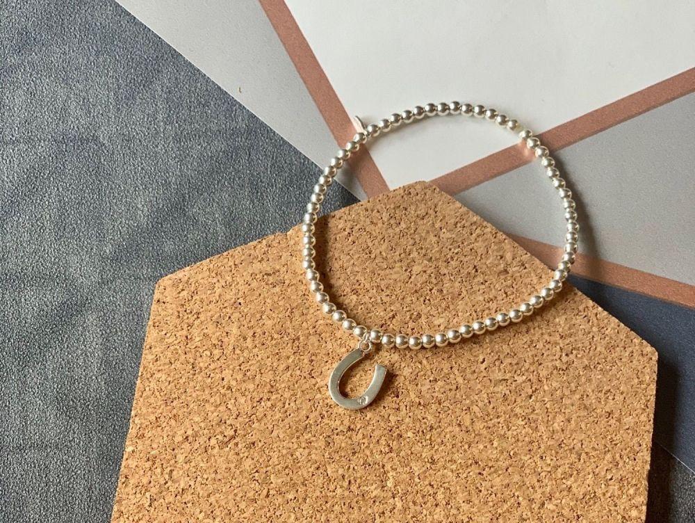 Sterling Silver Horseshoe Beaded Stacking Bracelet - Handmade