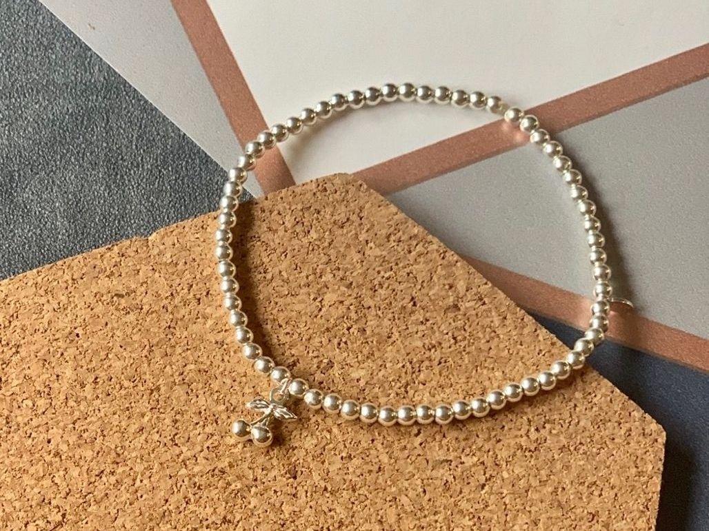 Sterling Silver Cherry Beaded Stacking Bracelet - Handmade