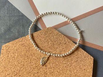Sterling Silver Leaf Stacking Bracelet - 3mm