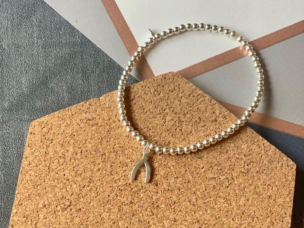 Sterling Silver Wishbone Stacking Bracelet - Handmade