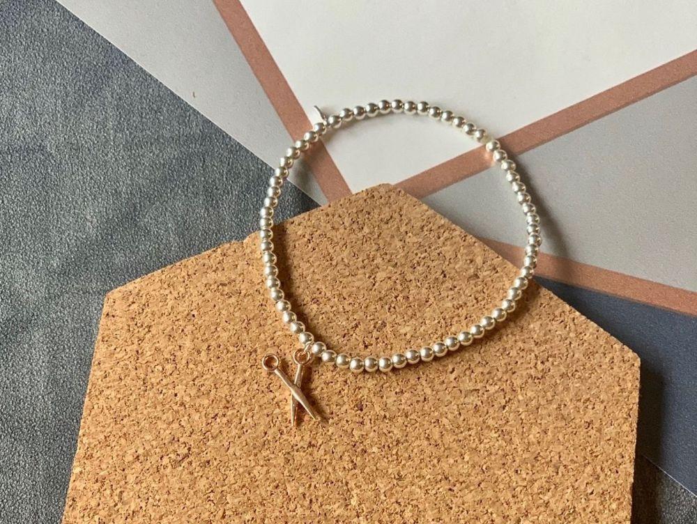 Sterling Silver Scissor Stacking Bracelet - Handmade