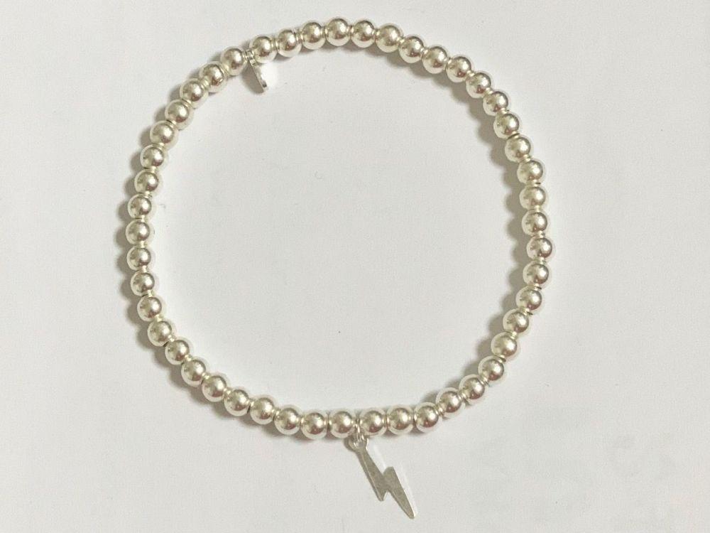 Sterling Silver Lightning Bolt Stacking Bracelet - Handmade