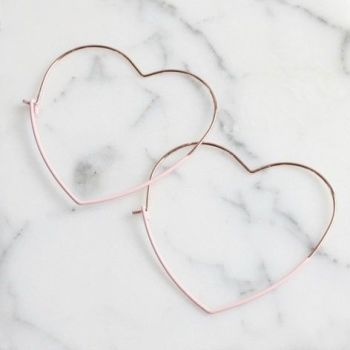 Rose Gold & Pink Heart Hoop Earrings