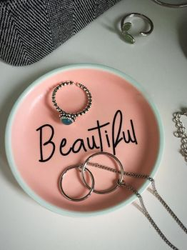 Pastel Pink 'Beautiful' Ring Dish