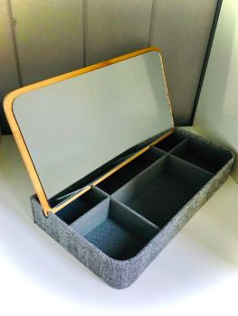 Fabric and Bamboo Lid Jewellery Box in Grey