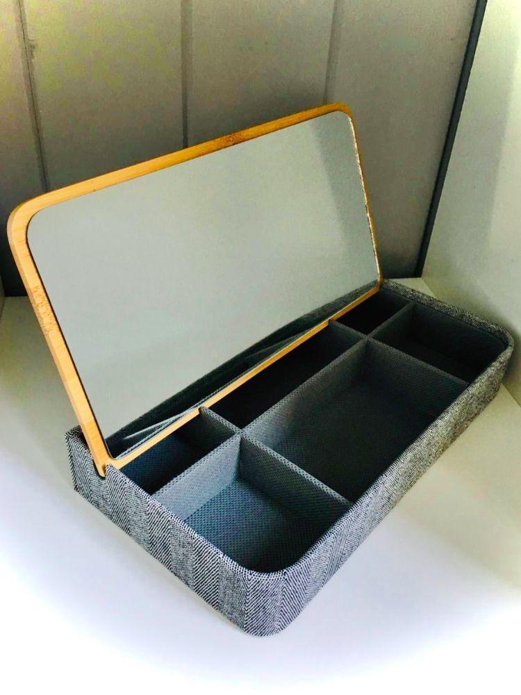 Fabric and Bamboo Lid Jewellery Box in Grey