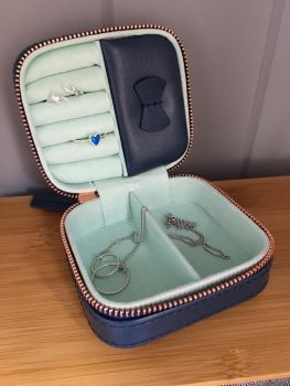 Mini Square Travel Jewellery Box in Navy and Mint Green