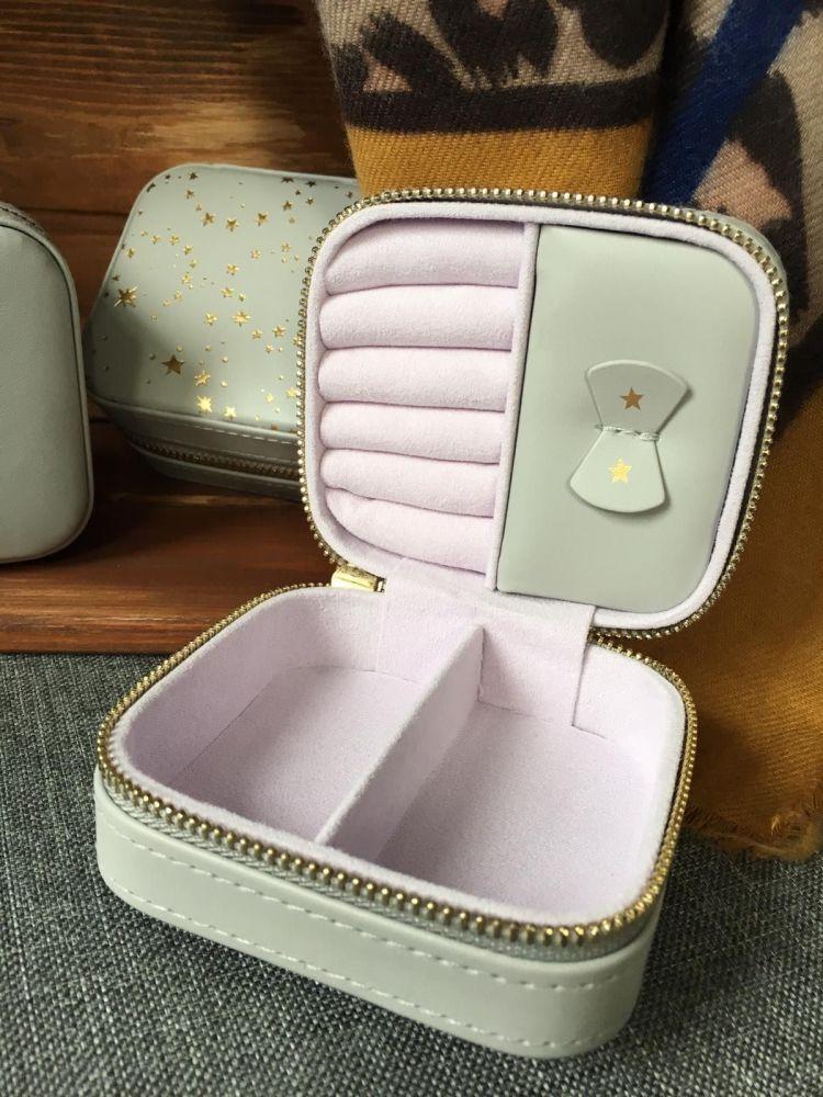 Mini Square Stars Travel Jewellery Box in Grey
