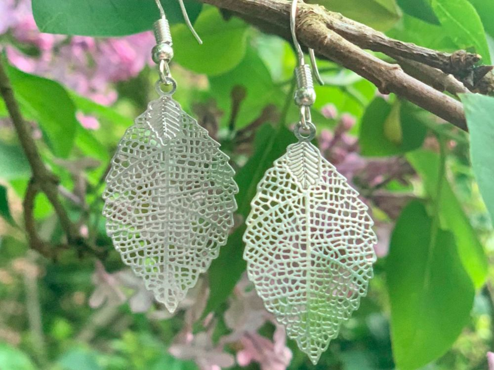 Beautiful large leaf earrings