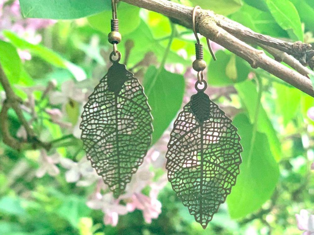 Beautiful large leaf earrings